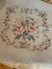 Vintage Needlepoint Chair Seat Cover Large Floral  Faded Aqua Pink Roses 19x19