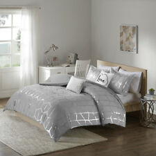 New! ~ Cozy Chic Grey Silver Chevron Love Metallic Soft Girls Comforter Set