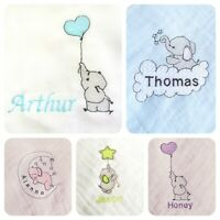 Personalised Embroidered Baby Muslin Blanket With Cute Elephant Girl Boy