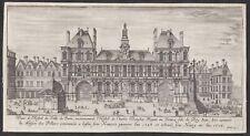 Paris Hotel de Ville Rathaus city hall Israel Silvestre etching Kupferstich vue
