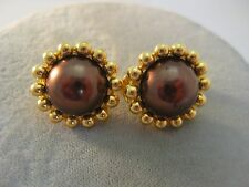 Button Clip Earrings Gold Tone Estate Costume Joan Rivers Chocolate Pearl