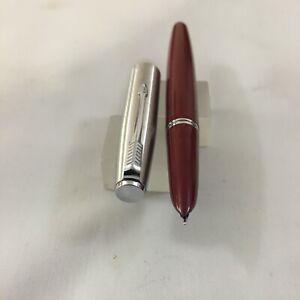 Late Parker 21 Brush Steel Maroon FP Steel Medium USA as Mint