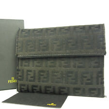 Auth FENDI Zucchino Canvas Leather Trifold Wallet Purse F/S 1108