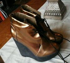 BRONZE WEDGE ANKLE BOOTS SIZE 6