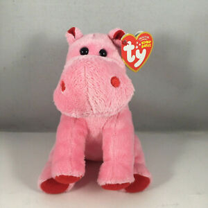 Ty Beanie Baby - BIG KISS the Red/Pink Hippo (6.5 Inch) NEW MINT with MINT TAGS