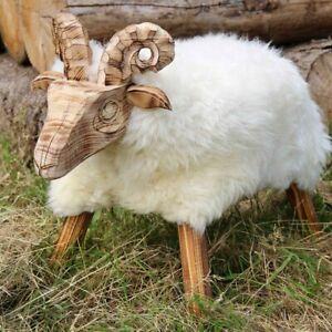 Lambskin Stool Paul Model 32 Footrest Seat Decoration Real Wood Sheepskin