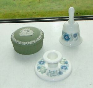 Wedgwood Green Jasper Lidded Pot Clementine Bell and Candle Holder