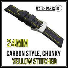 • 24mm Black Carbon Fibre, Yellow Stitched Chunky Leather Watch Strap + Buckle •
