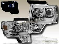 09 10 11 FORD F150 CHROME TWIN HALO CCFL LED PROJECTOR HEADLIGHTS LAMPS L.E.D