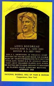 LOU BOUDREAU autographed HOF Plaque post card