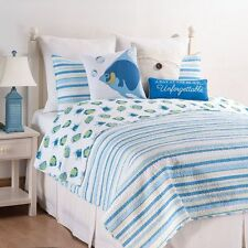 ISLAND BAY Full / Queen QUILT SET : BEACH OCEAN FISH AQUA GREEN BLUE TROPICAL