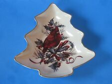 "Lenox ""Winter Greetings� Cardinal Christmas Tree Serving Dish"