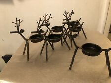 6 Reindeer Holiday Christmas Candles Dasher Rudolph Tealight Holders