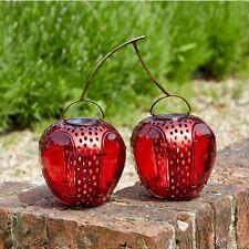 Solar Powered Funky Cherries Hanging Lantern Fruit Metal Garden Lights Decor