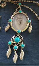 925 S/S Sacred Spirit Turquoise Cobochons Wolf Pendant Dreamcatcher