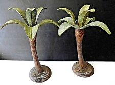 "Vtg Brass Hollywood Regency Palm Tree Candlestick Candle Holders 2 Pc Large 12""+"