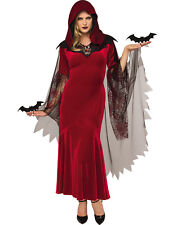 Bat Mistress Women Red Vampire Witch Gothic Halloween Costume-STD