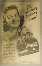 "Coca-Cola ad: ""Easy To Carry Home"" 1930's ~ 6.5 x 9 inches 1930's"