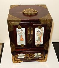 RARE CHINESE WHITE PORCELAIN HAND PAINTED GEISHA GIRL WOOD JEWELRY BOX