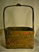 IKEBANA BASKET Antique Vintage Oval CHINESE Japanese Woven Asian Estate Blue