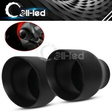 "1 Pair Double Wall Weld On Exhaust Tips 2.5"" Inlet 4"" Outlet 5"" Long S/S Black"