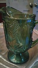 Vintage INDIANA LIME GREEN Iridescent Carnival Glass Pitcher Harvest Grape