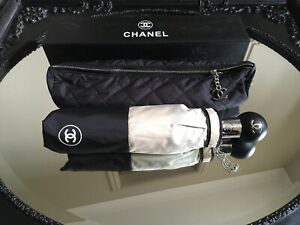 Chanel Umbrella with Quilted Case Cover Push Button Operated