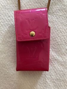 LOUIS VUITTON Vernis Cigarette Case Cell Phone Holder Greene Fuchsia 100% Auth