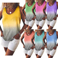 Womens Summer Sleeveless Gradient Tank Top Casual Beach T Shirt Tops Blouse Soft