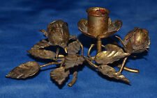 VINTAGE ITALIAN METAL GOLD-TONE TOLE THREE FLOWER TABLE SINGLE CANDLE HOLDER