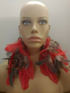 Huge new feather earrings Red