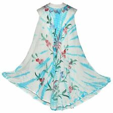 Vestido de verano flores azul turquesa blanco viscosa mujer playa ropa moda