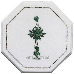 13 Inches Malachite Stone Marquetry Art End Table Top Marble Coffee