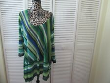 Travel Elements top, Woman Plus 3X,NWT, Shades of green,blue diagonal stripes
