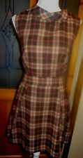 ATMOSPHERE BROWN/RED/BEIGE CHECK LINED SLEEVELESS DRESS+COLLAR SIZE 18 BNWT