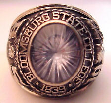 1975 Bloomsburg State College 10K Mans Class Ring, 18+g, White Gold