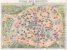 Géographie carte illustrée antique garnier paris poster art print BB4316B