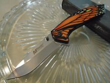 """Mtech Spring Assisted Pocket Knife Chrome Monarch Butterfly A1005OR 7 1/2"""" Open"""