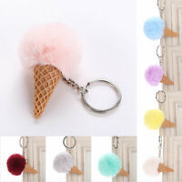 2X Ice Cream Cone Key Chain Hairball Key Ring Bag Car Hanging Decor Gift 9 Color