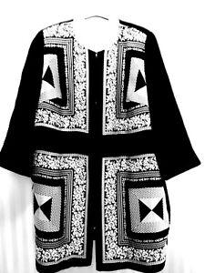 Designer Longjacke MARINA RINALDI m. Seide * 100 cm lang * Gr. 54 / 56 * Italien