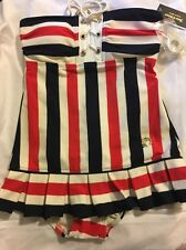 JUICY COUTURE Striped 1pc Swimdress Swimsuit Sz Small Red White & Blue