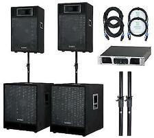 Active DJ PA Speaker Woofer Monitor Audio System Kit Amp Cable Support Set 4400w