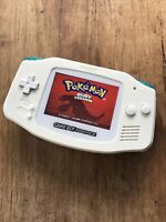 Nintendo Gameboy Advance GBA White Teal Handheld Gaming Console BACKLIT IPS 2