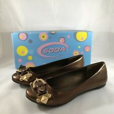 NEW Soda Women's Saucy-S Bronze Ballet Flats Shoes Sz 7