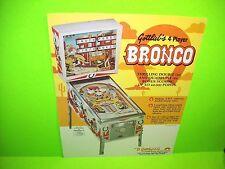 Gottlieb BRONCO Original 1977 Flipper Game Pinball Machine Promo Sales Flyer
