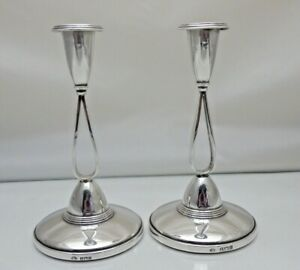 Vintage Pair Stylish 1960's Sterling Solid Silver Candlesticks (1967/9/LSY)