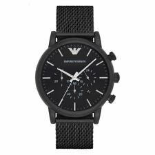 New Emporio Armani AR1968 Black Stainless Steel Mesh 46mm Case Men's Gents Watch
