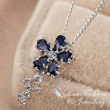 18K White Gold Made With Plated Swarovski Crystal Slim Flower Sapphire Necklace