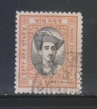 INDIA INDORE STATE 1943 KGVI. 5Rs. SG43 USED STAMP RARE.