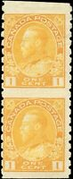 Mint H Canada 1924 Pair 1c Coil F Part Perforate Scott #126c KGV Admiral Stamps